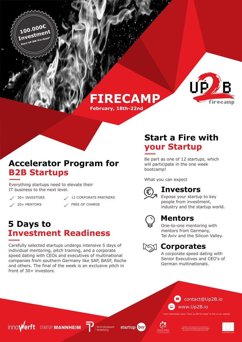 FIRECAMP 2019 – one-week intensive program for B2B startups! Apply now and get access to the german industry! 👉http://up2b.io/firecamp/ Unsere #machervonmorgen @SFMSystems und #industrylist waren schon dabei.