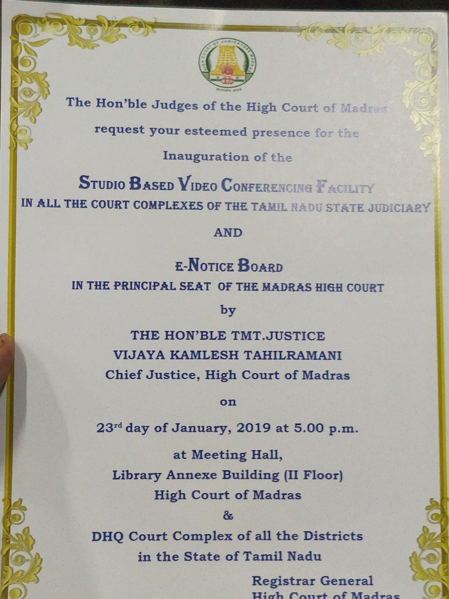 21882379c Video conferencing facility for all court complexes in Tamil Nadu  E-Notice  Board facility to be inaugurated at the Madras High Court by Chief Justice  VK ...