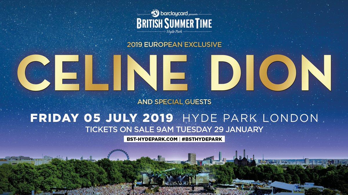 ⚡️TEAM CELINE TICKET PRE-SALE ON NOW! ⚡️ ⚡️LA PRÉVENTE TEAM CÉLINE EST COMMENCÉE! ⚡️ Céline will headline @BSTHydePark in London on July 5.Make sure you book your tickets for Celine's only European show of 2019.   Cliquez ici 👉🏼 http://www.celinedion.com/join  et obtenez vos billets -TC