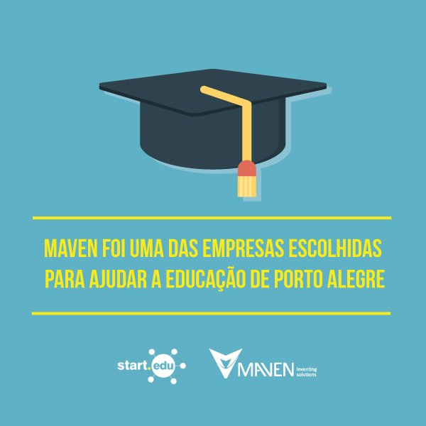 Ficamos muito felizes em saber que a Maven foi uma das empresas escolhidas para participar da etapa final do programa Start .Edu.  Estamos ansiosos para mostrar nossas ideias para a educação.   Confira a notícia aqui no site da Prefeitura de Porto Alegre. lhttp://bit.ly/2sFwggA https://t.co/A8VDv8WlZM