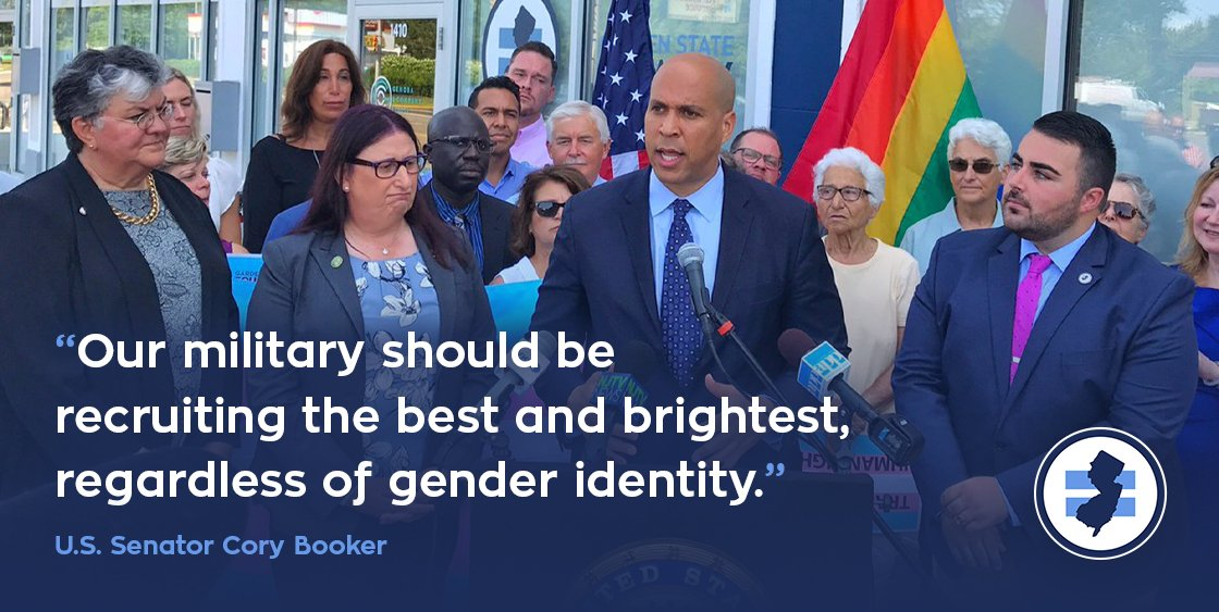 "#SCOTUS action yesterday to allow Trump admin's transgender military ban to go into effect is shameful. As Sen. @CoryBooker said last year:  ""Forbidding these brave Americans to serve our country flies in the face of the values the United States was built upon."""