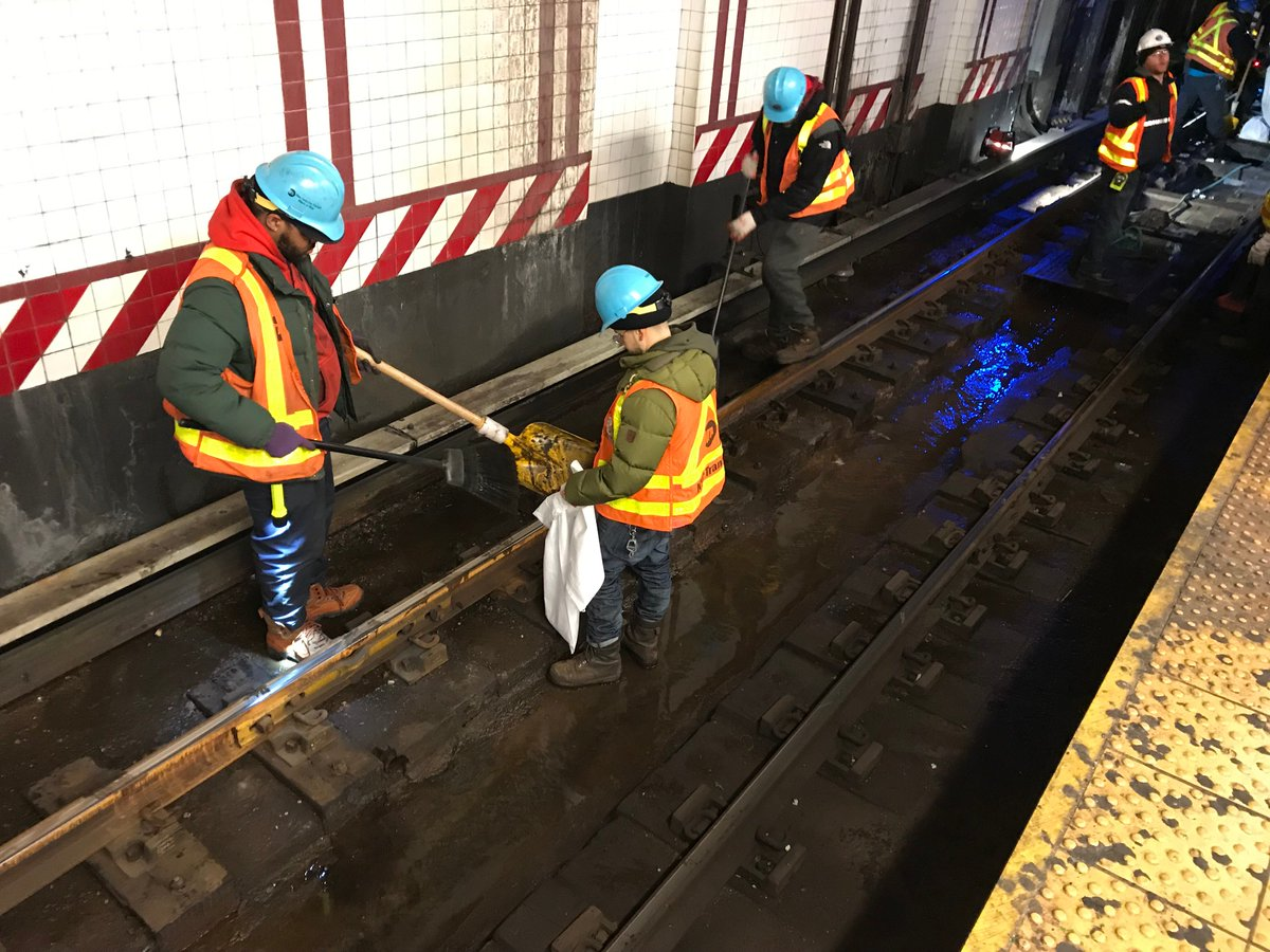 Update: Manhattan-bound L trains are now running approximately every 6 minutes, and are continuing to end at 14 St-Union Square.  Our crews are clearing debris from the tracks; new stop motors are also being delivered to the affected area and will be installed where needed.