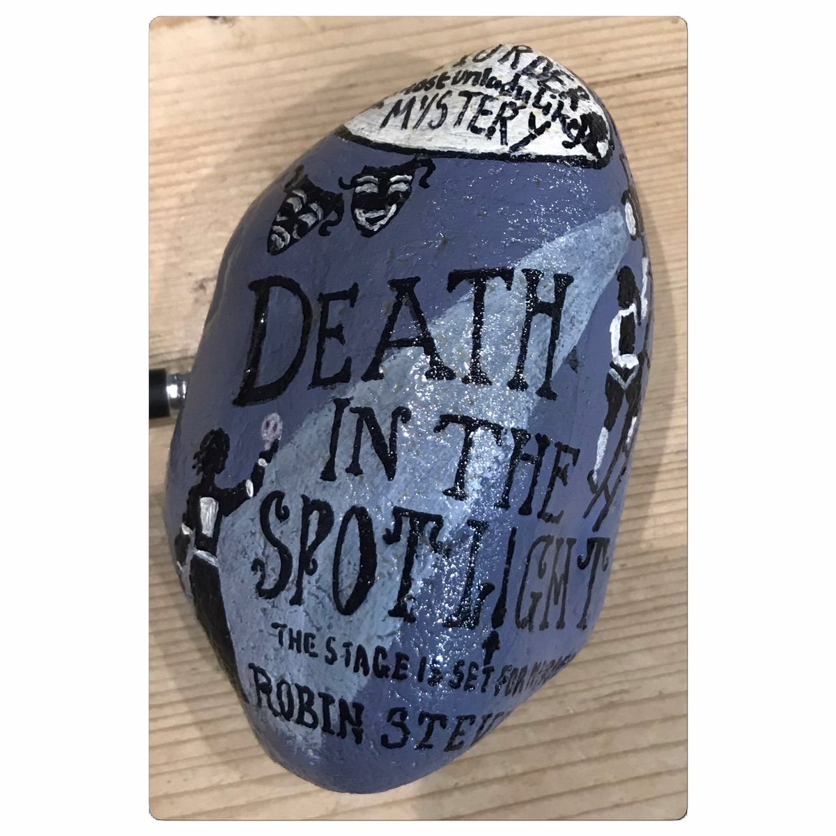 New painted rock book suggestion hidden in the library, Death in the Spotlight by @redbreastedbird @PuffinBooks  #findandrehide #booksrock #murdermostunladylike