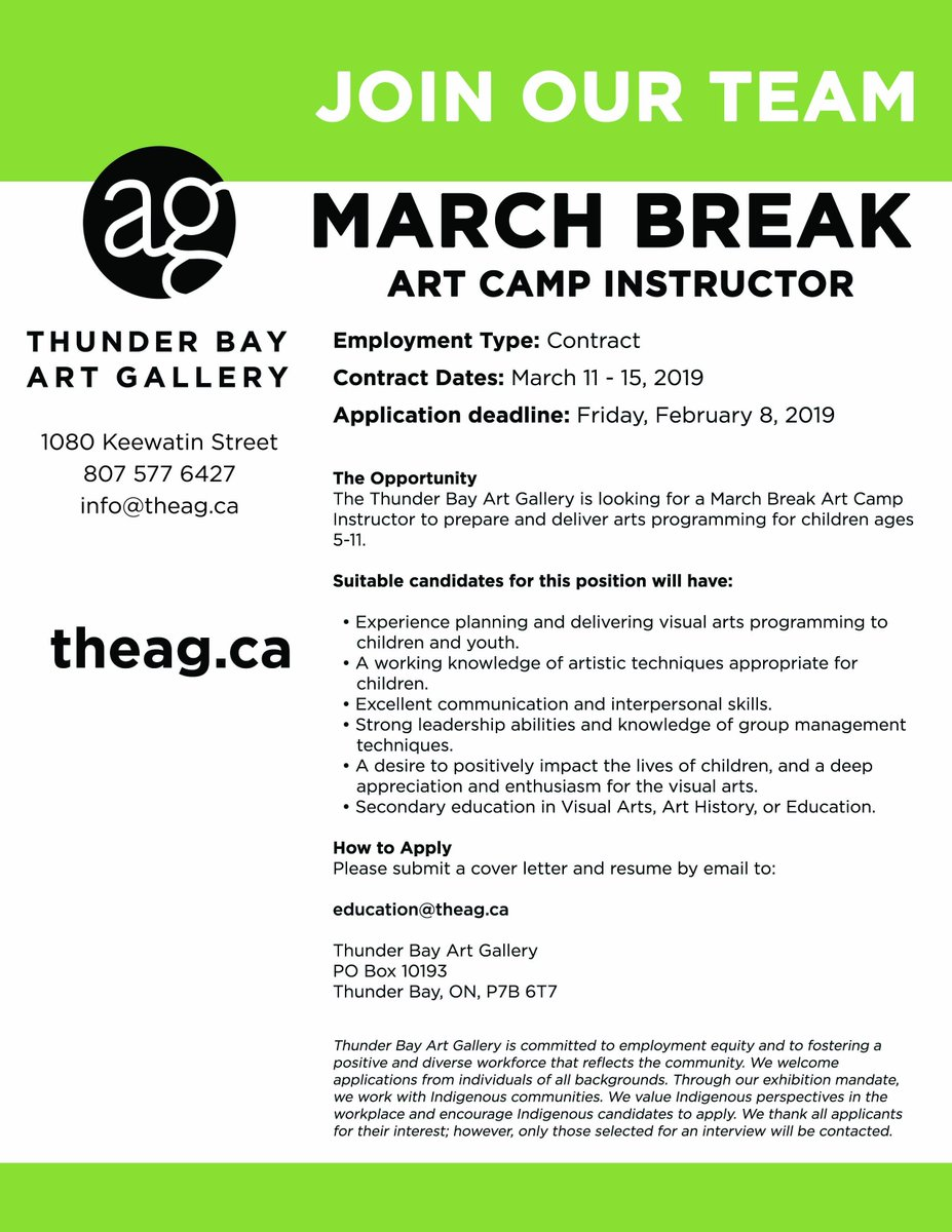 We are hiring!  Do you have experience developing and facilitating engaging arts programing for children? We are looking for a March Break Art Camp Instructor.  Check out the full job description on our website at http://theag.ca/about/careers.   Applications due by Friday, February 8.