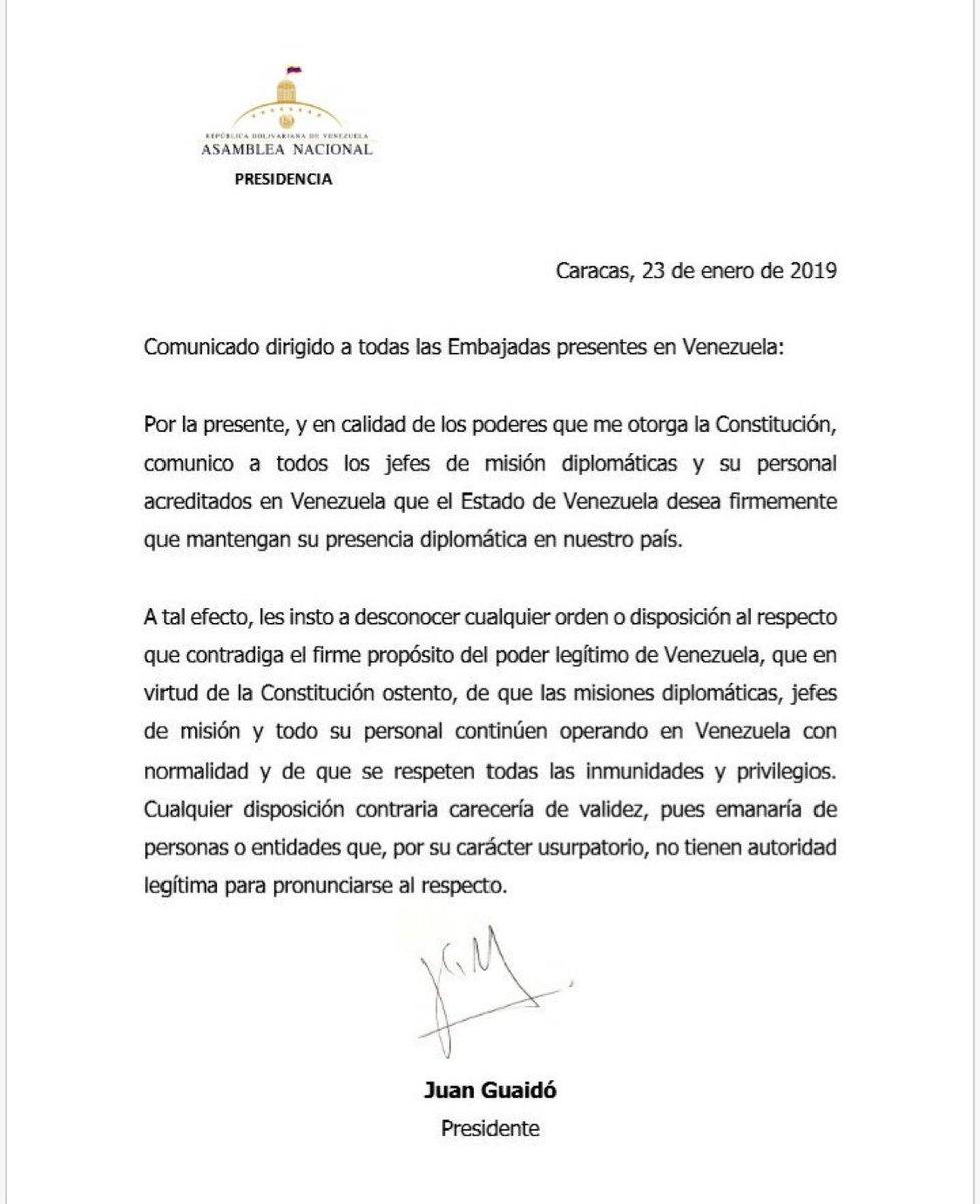 #ÚLTIMO #Comunicado del Presidente de Venezuela Juan Guaidó para todas las Embajadas presentes en Venezuela.