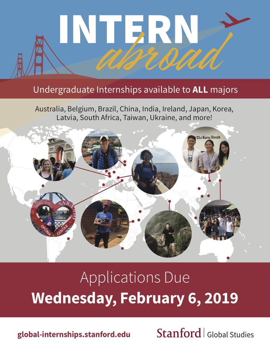 Applications for the Stanford Global Studies Internship Program are due  February 6th! Learn more about the application process on our website: ...