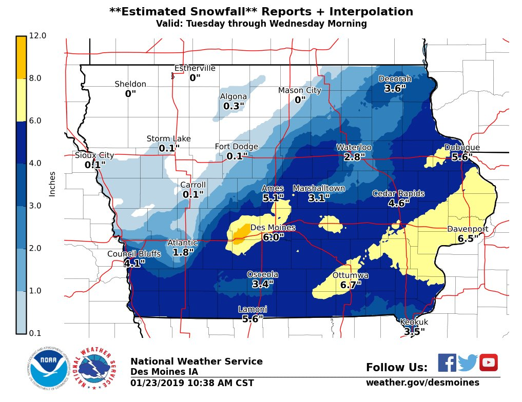 Nws Des Moines On Twitter Map Of Estimated Snowfall Based On