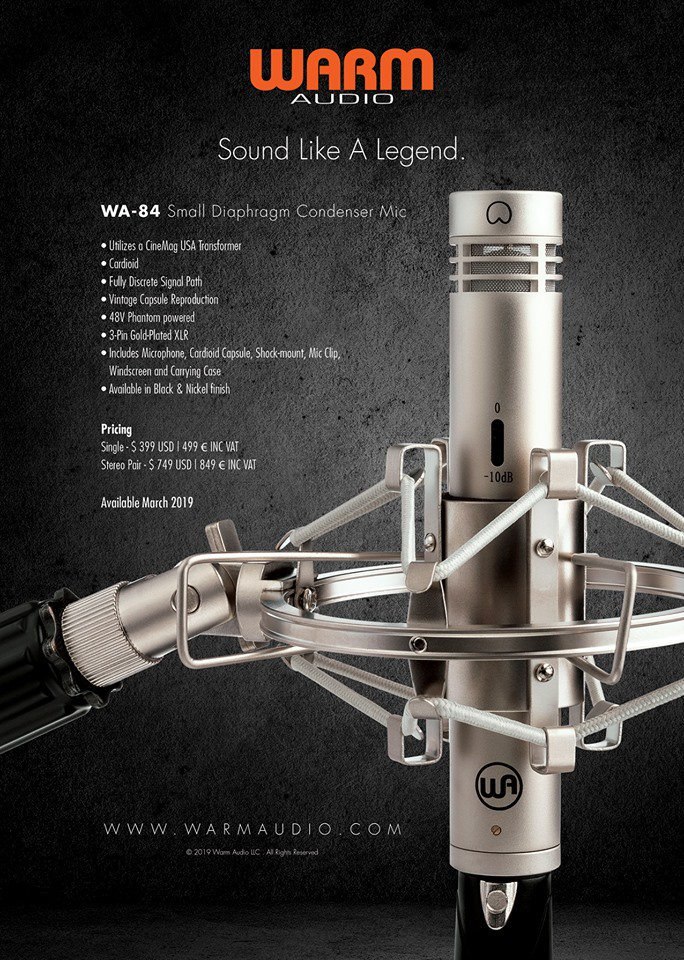 NEW PRODUCT ANNOUNCEMENT! Introducing the WA-84 Small Diaphragm Condenser Microphone. Offered in Nickel & Black finishes.  Single - $ 399 USD | 449 € INC VAT Stereo Pair - $ 749 USD | 849 € INC VAT Available March 2019! https://warmaudio.com/wa-84/ #warmaudio #teamwarm #wa84