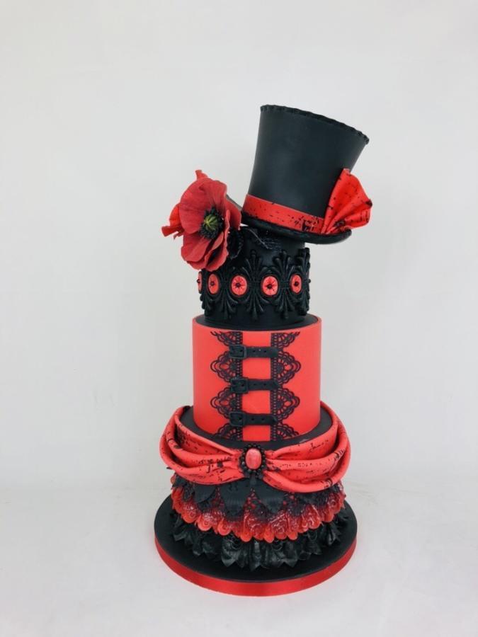 #Cake 🍰 Awesome of the Day: Black & Red #Steampunk ⚙️ #Birthdaycake 🎂 #Weddingcake 💍 with #Hat 🎩 and #Corset via @CakesDecor #SamaCake