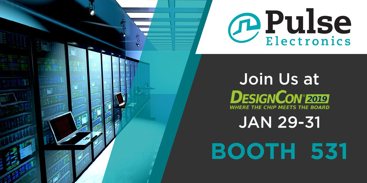 DesignCon 2019 is just around the corner! Come meet our friendly Pulse team of experts at booth 531 where we'll be happy to introduce you to our latest product innovations #pulseelectronics https://hubs.ly/H0ghKv10