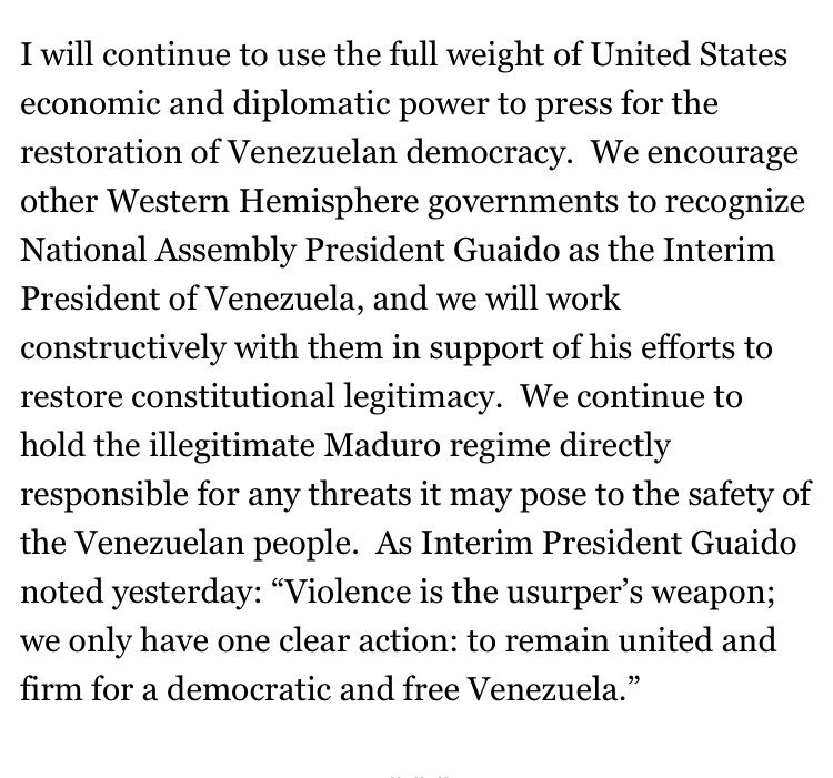 BIG: @realDonaldTrump recognizes #JuanGuaido as the interim president of #Venezuela. #Latam
