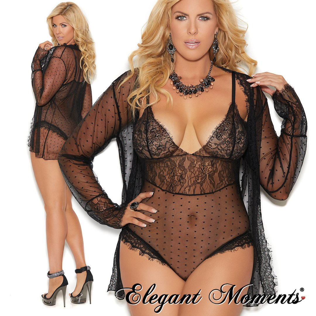 8817f383bf ... a twist...style 44007 combines sheer floral lace with a flirty polka  dot pattern. Matching sheer jacket included. Sizes small through 3X.