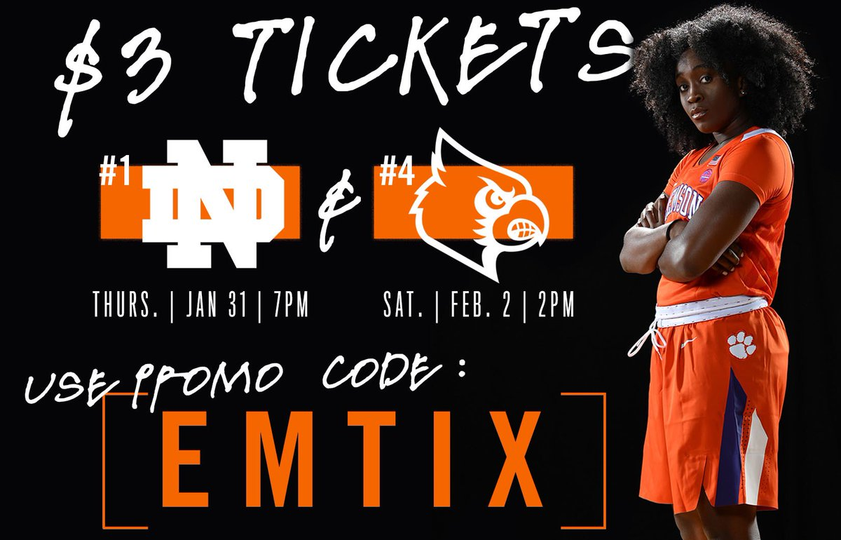 #ClemsonFamily our Lady Tigers have been BALLING OUT! Their next home game is against #1 Notre Dame!!! Use my code: EMTIX and buy tickets for just $3 Come support @ClemsonWBB and get CLEMSON LOUD!!! CU there! 👉 https://bit.ly/2U9xwUU
