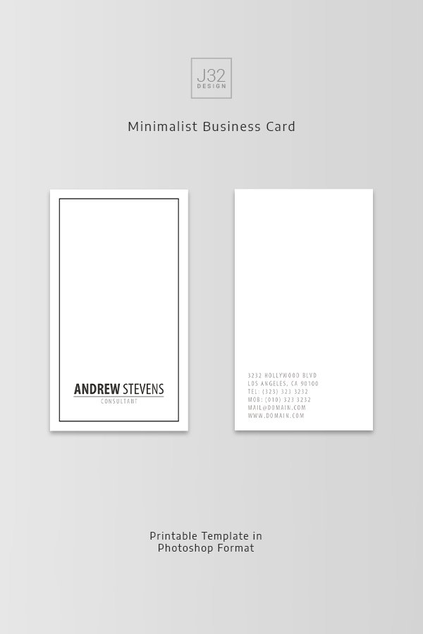 Minimalist Business Card Template https://www.etsy.com/listing/386537436/minimalist-business-card-template