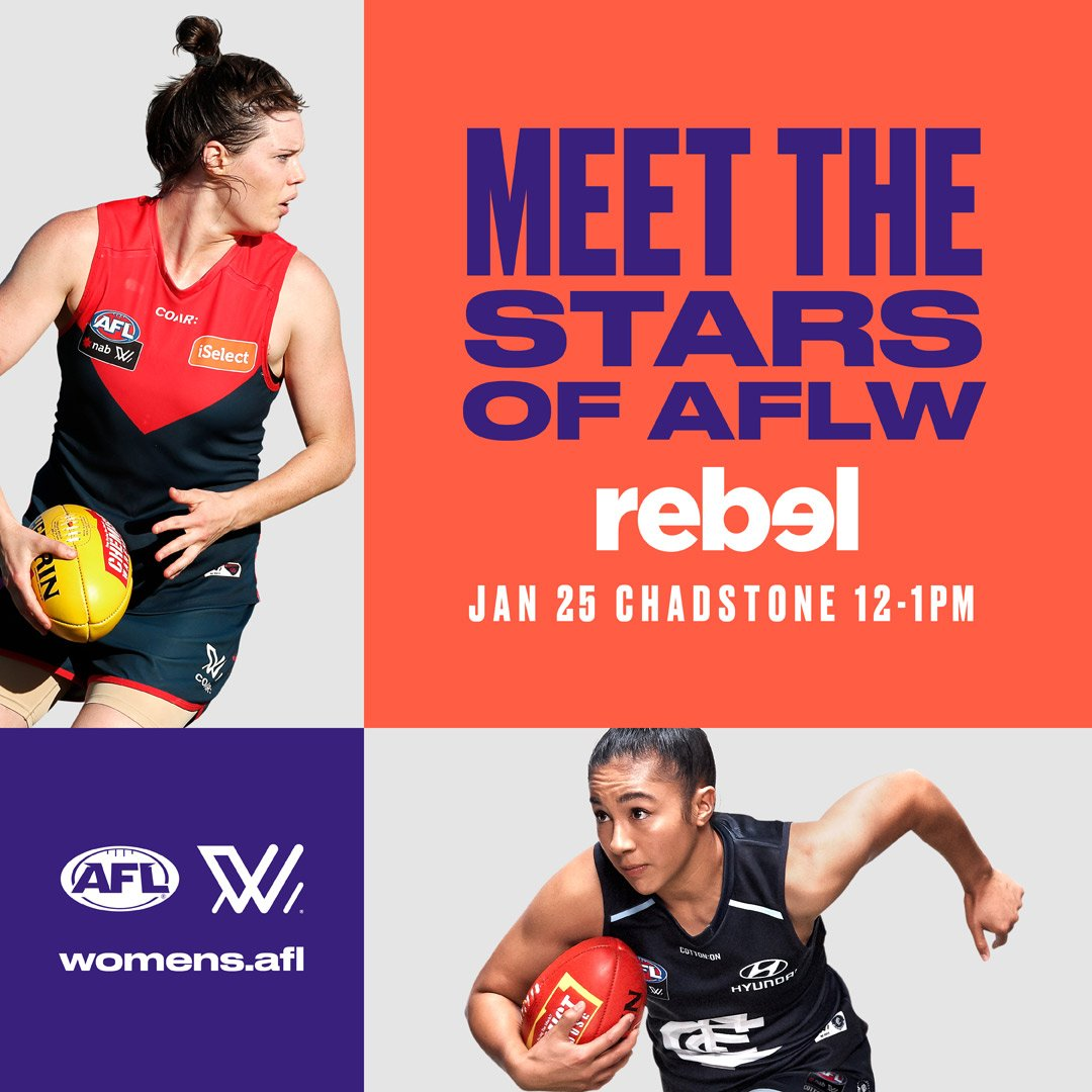 Get down to @rebelsport Chadstone TOMORROW from 12-1pm for your chance to meet @darcyvee @britbonnici @melissahickey18 @eliseodea @kaitashmore & @LibbyBirch18 🙌💥 PLUS win prizes from Sherrin, New Era & Steeden. We can't wait to see you there! #AFLW #GenW https://t.co/FU2Xd31hz0