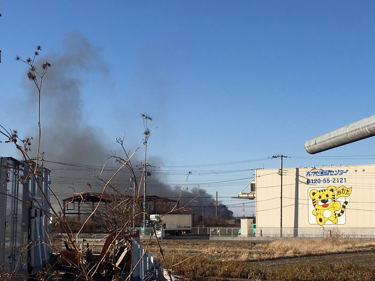 さいたま市岩槻区で火事が起きている現場画像