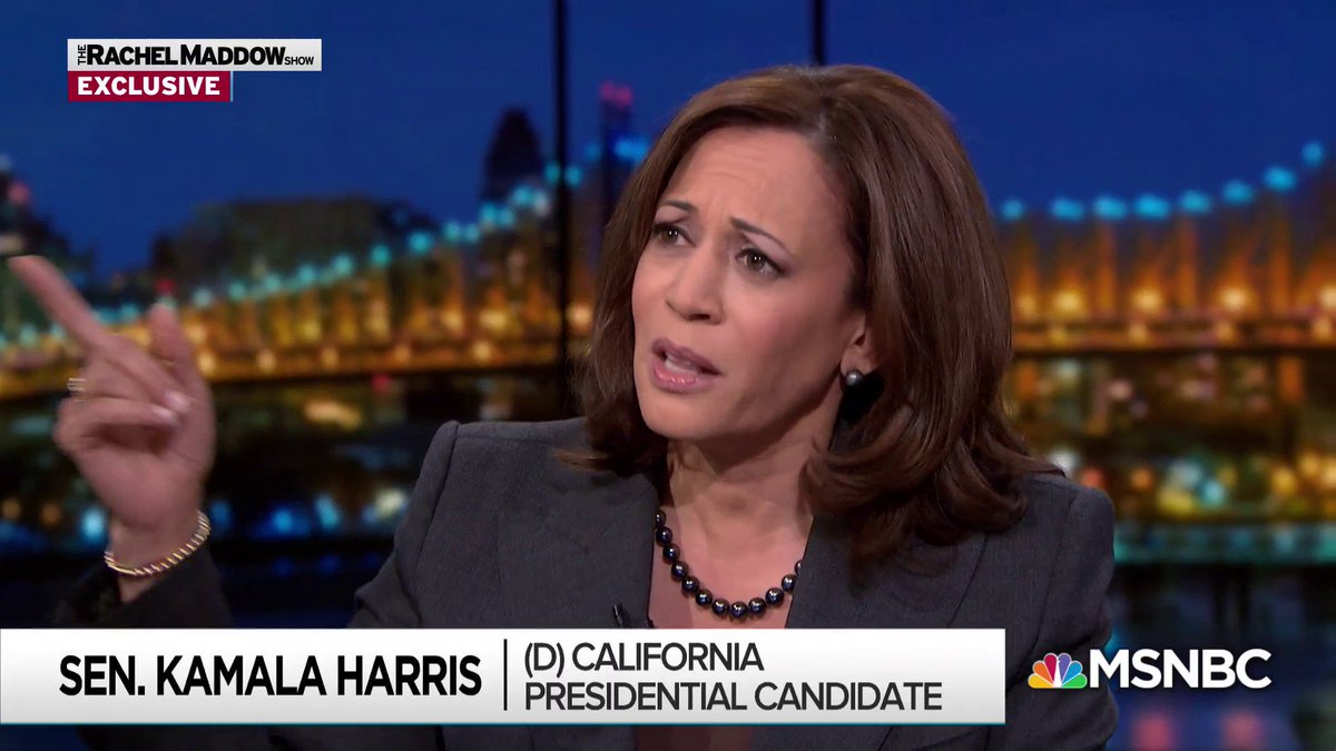 """""""If you really want to secure the nation, pay those people to do the job that they took an oath to do every day."""" -Senator Kamala Harris (link: ) https://twitter.com/MaddowBlog/status/1088265875436769280/video/1…"""