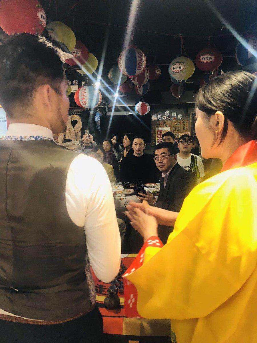 中国の思い出 日本料理屋さんでもイベント開催。日本酒の菊正宗さんと一緒にオールジャパンで日本の文化をお伝えしましたよ〜 瑞泉青龍人気でした! @TokyoZuisen