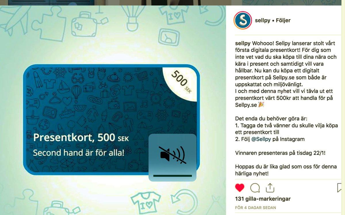 2729f22c5377 Riktigt bra att @SellpySE lanserat presentkort till sin enorma second hand-webshop,  gör steget mycket lättare. #cirkulärekonomi #sellpy #secondhand #reuse ...