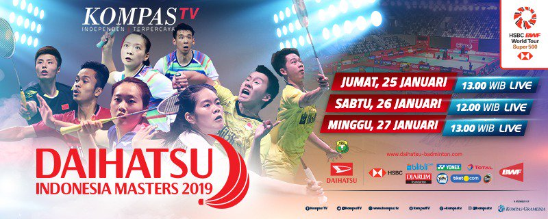 Jadwal siaran langsung Indonesia Masters 2019 di Kompas TV.