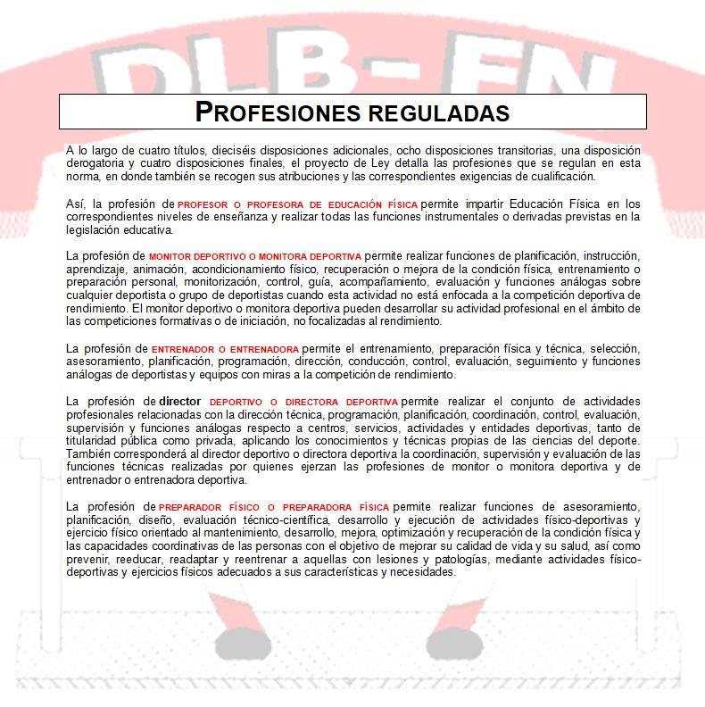 DESDELABANDA FÚTBOL NAVARRO LEY DE PROFESIONALES DEL DEPORTE PROFESIONES REGULADAS
