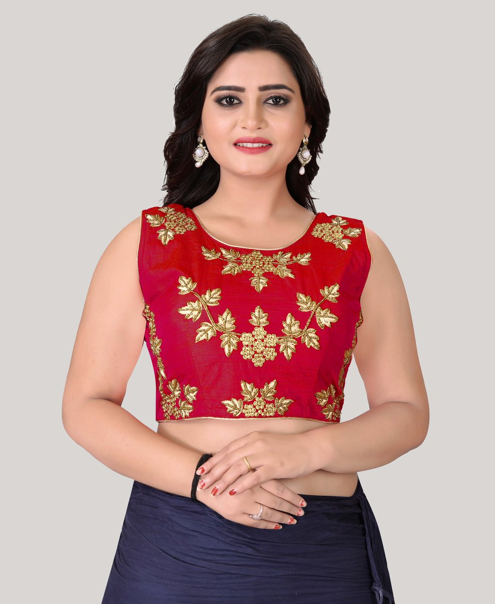 bc1992d25587b9 Red Round Neck Women s Stitched  Blouse Online On  YOYOFashion. Shop Now    https   bit.ly 2DwiDXm Call or Whatsapp for more info here  +91 8000588688   Style ...