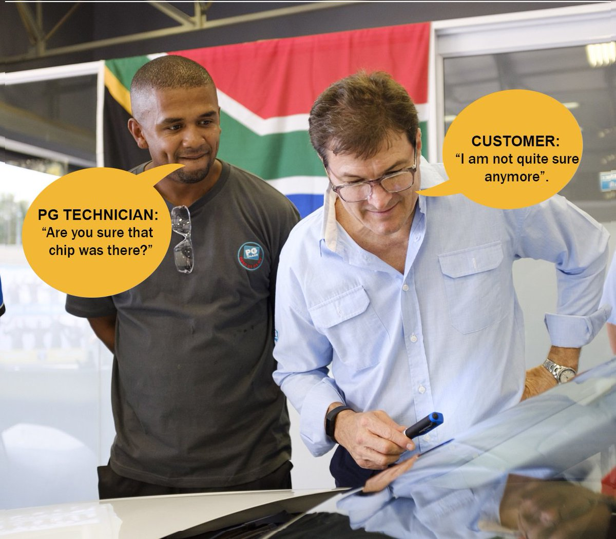 With our EXCLUSIVE PG Glass Medic® Chip Repair technology that chip on your windscreen will be virtually invisible*. So Call us Now on 0860 04 04 04 or visit our website on http://www.pgglass.co.za today!                                            *T's & C's apply.