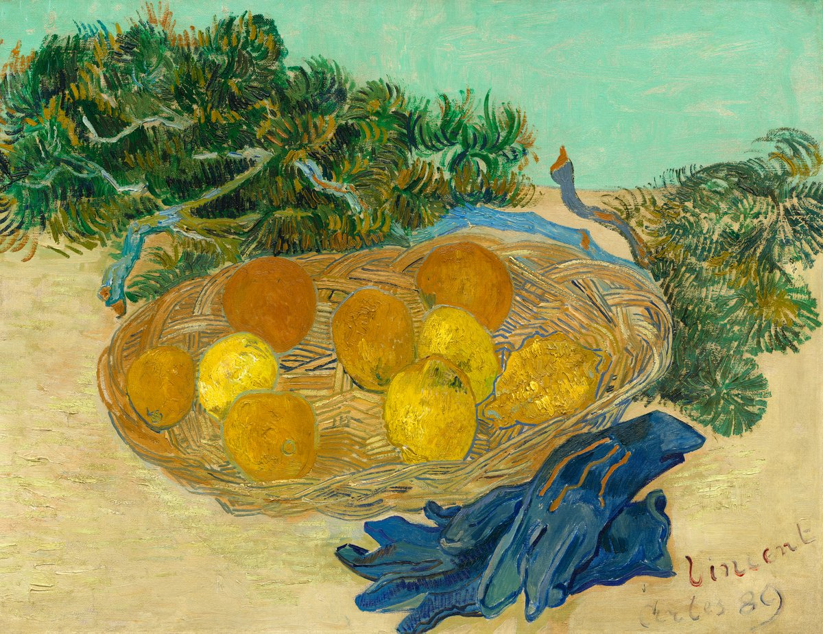 #VanGogh of the Day: Still Life of Oranges and Lemons with Blue Gloves, January 1889. Oil on canvas, 48 × 62 cm. National Gallery of Art, Washington, D.C. @ngadc