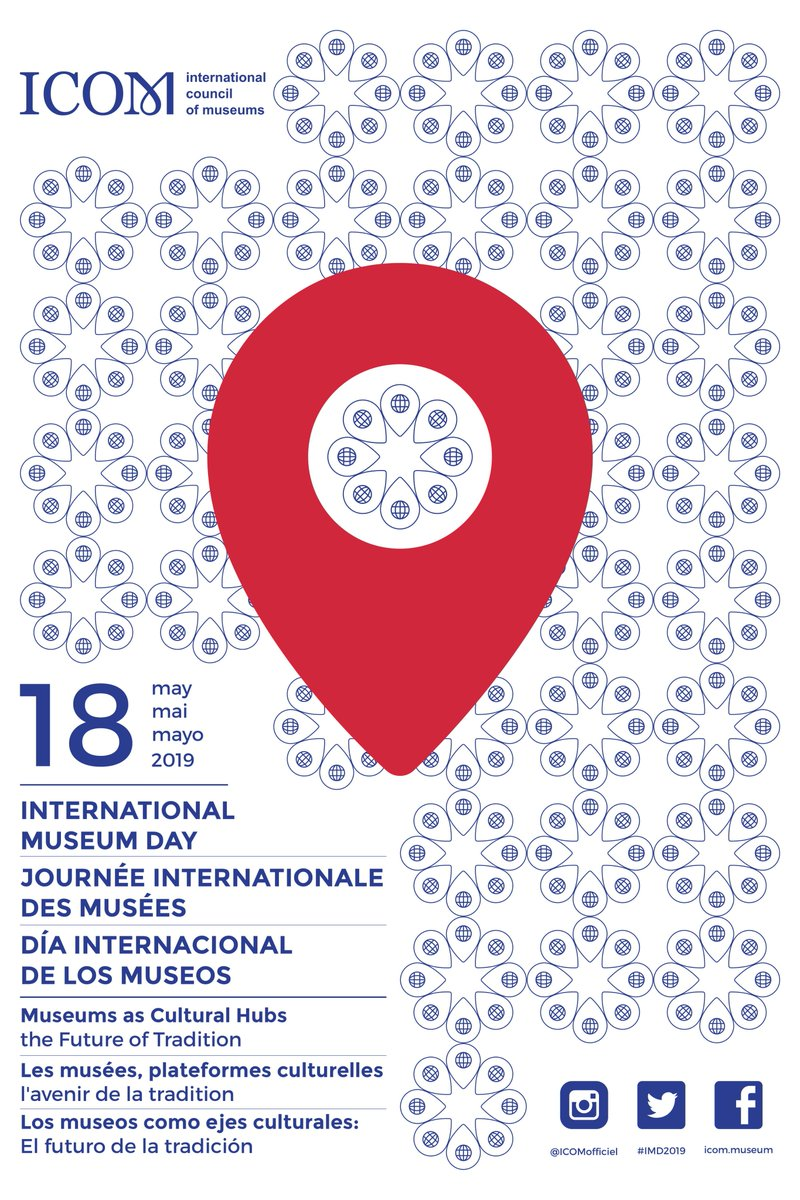 Here it is: the poster for International Museum Day 2019! This year, the theme is Museums as Cultural Hubs: The Future Of Tradition. Are you ready to celebrate museums on May 18th? 🎉 ℹ More information: goo.gl/PVRJ2S #IMD2019