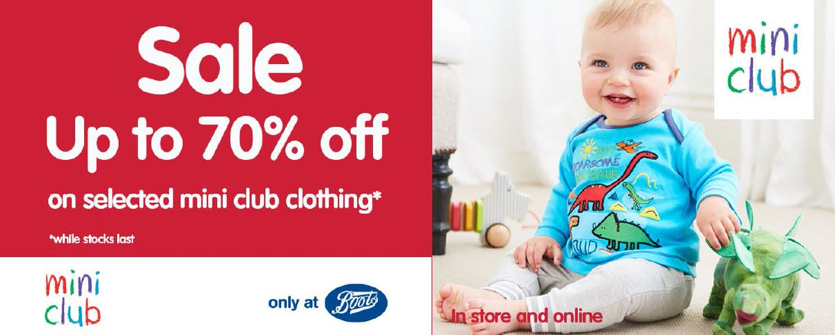 5ffe95e865be There's now up to 70% off at @BootsUK mini club baby and kids clothing.  Hurry whilst stocks last. Ages 0 to 6 years, exclusively at boots. Don't  miss out!