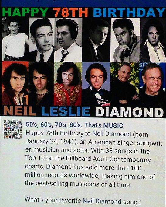 "My favorite Neil Diamond song is \""SWEET CAROLINE\"" ! What\s ours? HAPPY BIRTHDAY NEIL DIAMOND!!!"