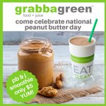 Come celebrate National Peanut Butter Day with $5 Power PB&J smoothies all day! #HealthyEating #smoothie #grabbagreen #NationalPeanutButterDay