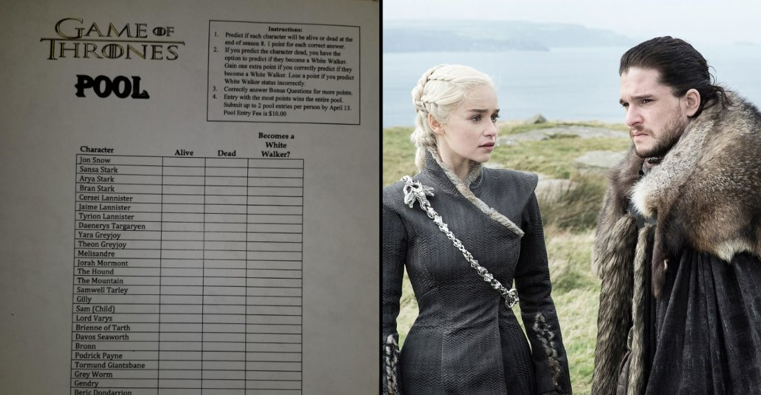 Ladbible On Twitter Boss Makes Game Of Thrones Prediction Sheet