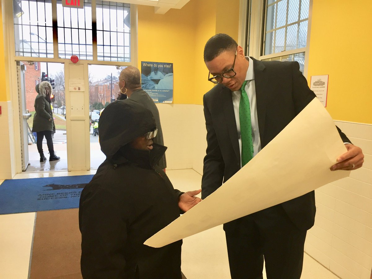 DC's newly named Schools Chancellor Lewis Ferebee visited Anne Beers Elementary in SE greeting students and parents on arrival. He comes from Indianapolis and faces Council confirmation next month