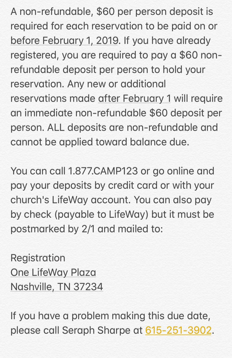 test Twitter Media - Group Leader Reminder: Deposits are due Feb 1. $60 per person, non-refundable. You can pay via your online LifeWay account, by calling 1-877-CAMP123, or by mailing a check made payable to LifeWay (postmarked by 2/1). Remaining balance due 14 days prior to camp. https://t.co/rFU63TljJq
