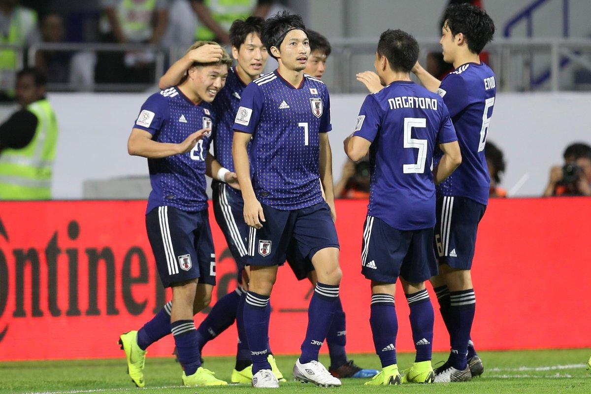 Celebración del gol de Japón a Vietnam.