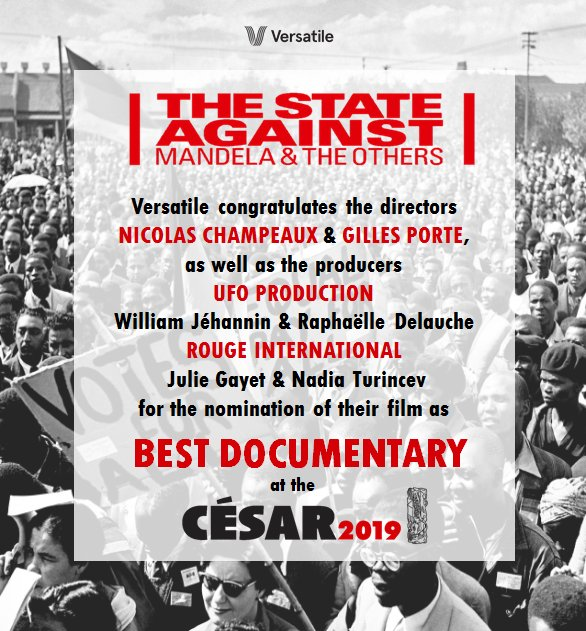#TheStateAgainstMandelaAndTheOthers is nominated at the #Cesar2019 for #BestDocumentary!  Congratulations @champeauxrfi & #GillesPorte!! @UFODISTRIBUTION @WilliamJehannin @raphaelle74  @IamJulieGayet #NadiaTurincev