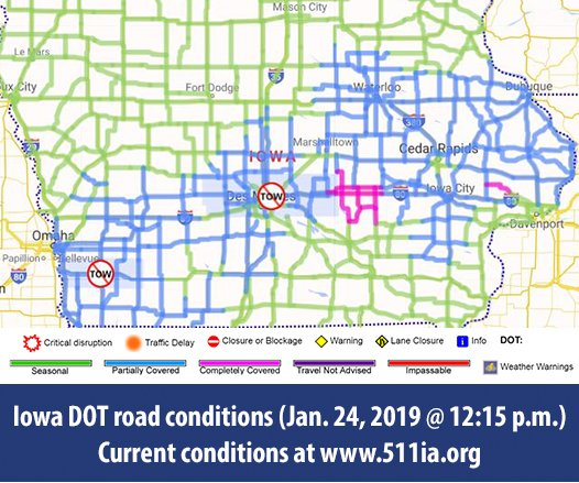 Road Conditions In Iowa Map.Iowa Dot On Twitter The Map Looks Far Less Pink Today But Much Of