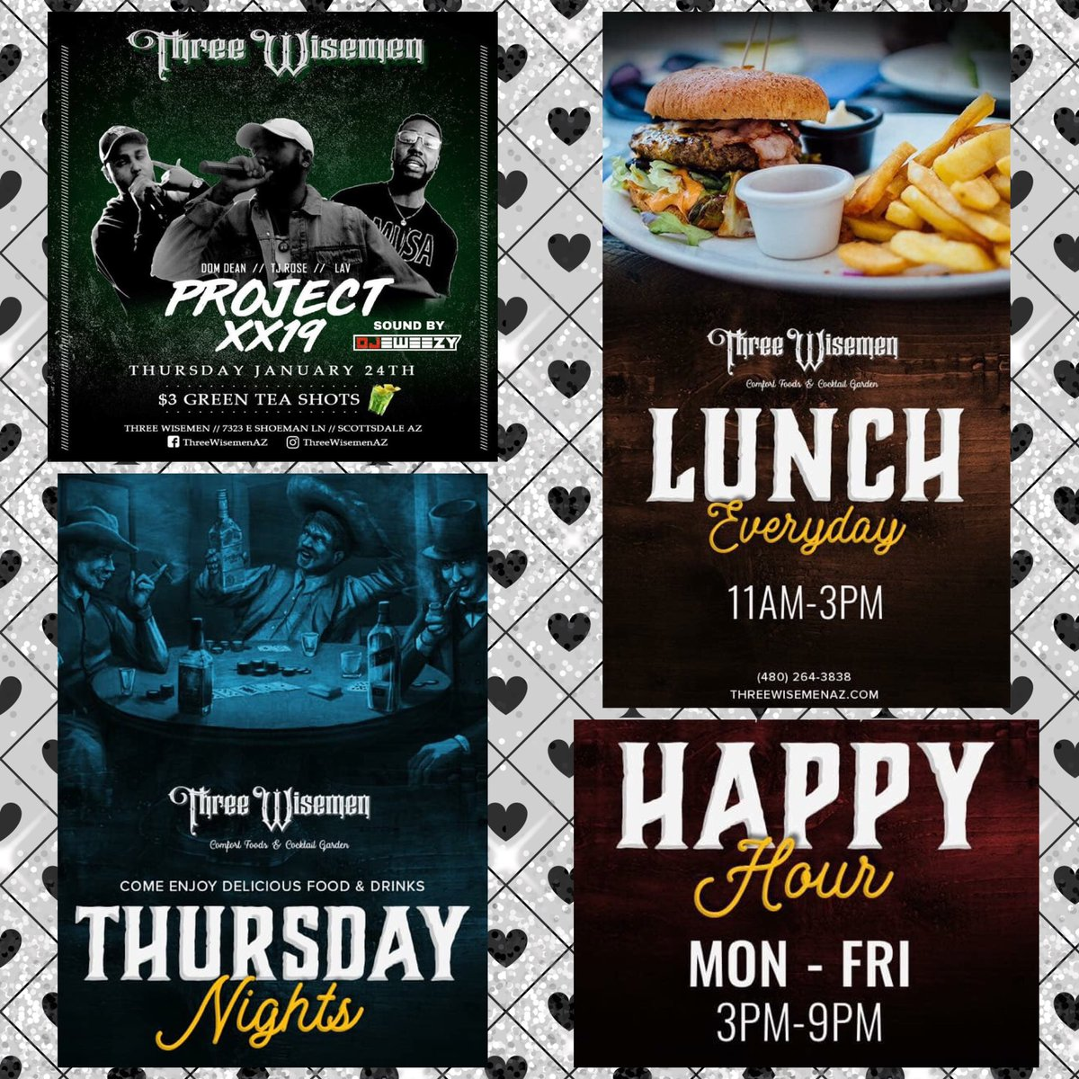 Three Wisemen || Comfort Foods & Cocktail Garden ... Open at 11am for Lunch + Happy Hour 3-9pm & our Thursday Night Party Project XX19 w/ Sounds by DJ EWeezy & $3 Green Tea Shots! 🥗 😋 🍹 🎶 VIP through Ally at 623.225.3986 📲 @ScottsdaleNites @MissAllySpoon