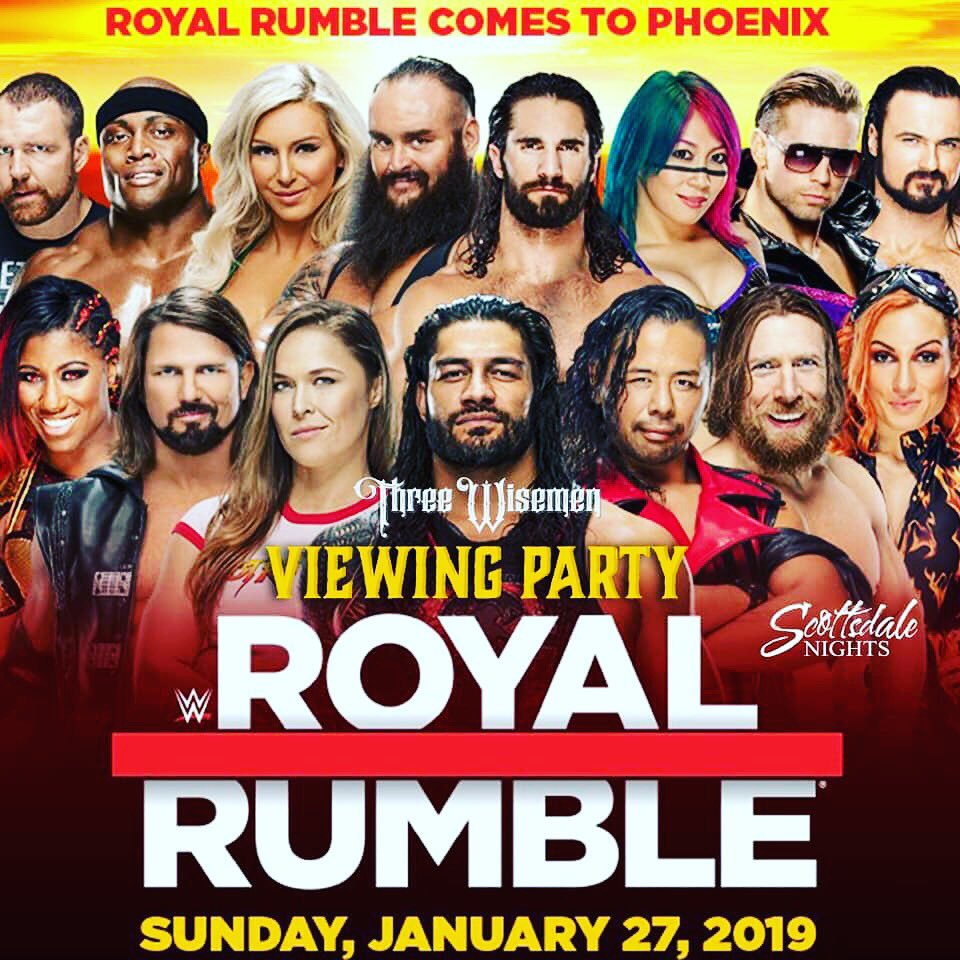 Join us here at Three Wisemen this Sunday 01.27 for our ROYAL RUMBLE Viewing Party! Party starts at 3pm!! 😁🎉🎉🤪 VIP @MissAllySpoon at 623.225.3986 📲 http://www.threewisemenaz.com  #WWE #wweroyalrumble #royalrumble #viewingparty #sundayfunday #threewisemenaz #scottsdalenights