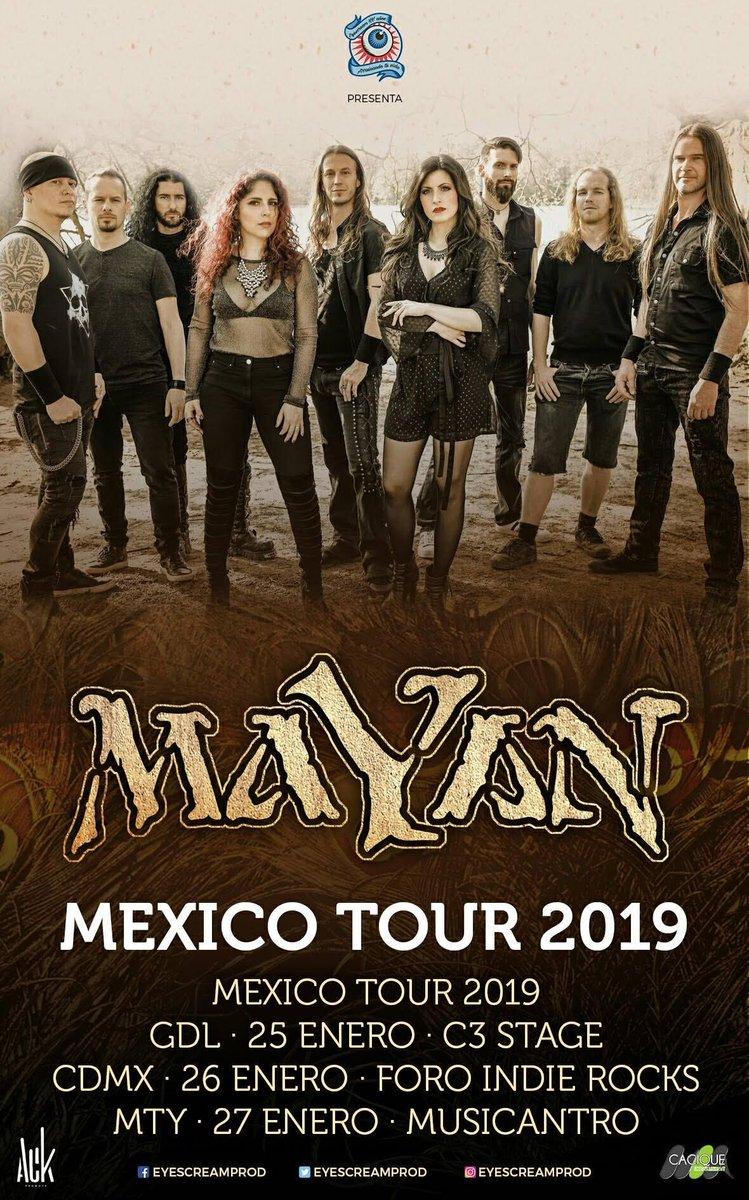 @MaYaNOfficial featuring Mark Jansen and Arien van Weesenbeek will tour Mexico coming week! Go and say hi!