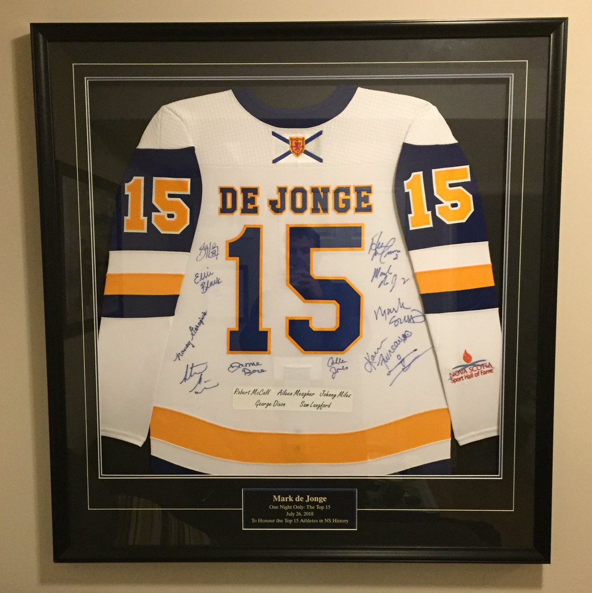 I put up my @NSSHF Top 15 jersey today and it looks great. Thanks very much to @FrameworthSport for framing this for me! https://t.co/8okK7BONd6
