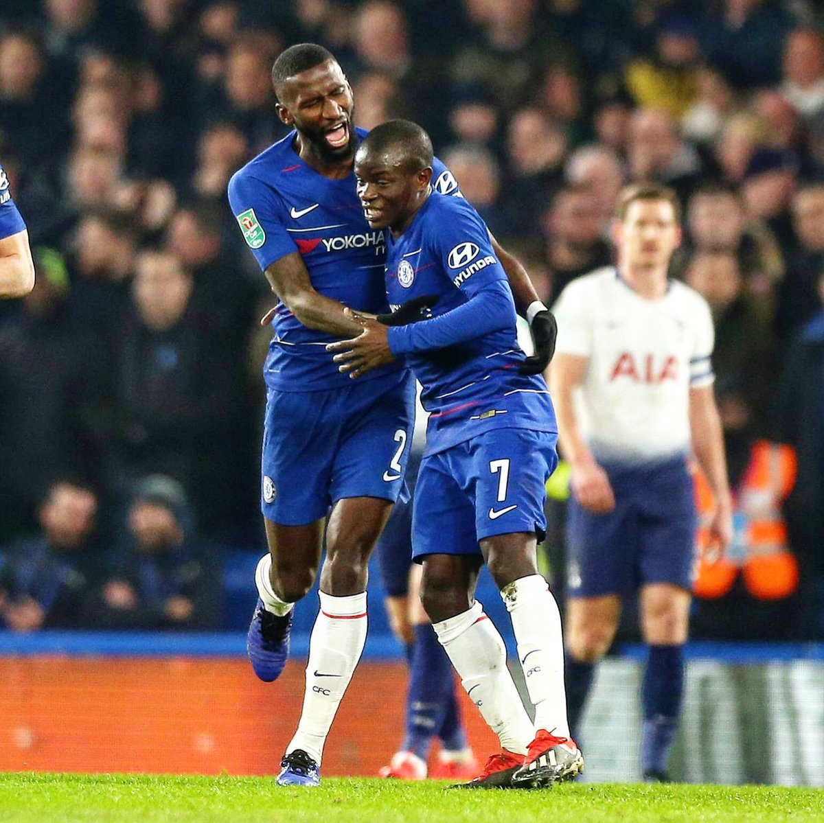 Don't be sooo shy broooo... 😂🤙🏾😘 We're into the finals!!! 💙 Great mentality from the team tonight! 💪🏾 #Hustle #AlwaysBelieve #LeagueCup @ChelseaFC @nglkante