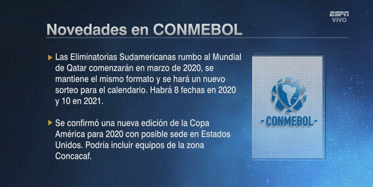 Calendario Eliminatorias Sudamericanas 2020.Fuera De Juego V Twitter Las Novedades De La Conmebol Para