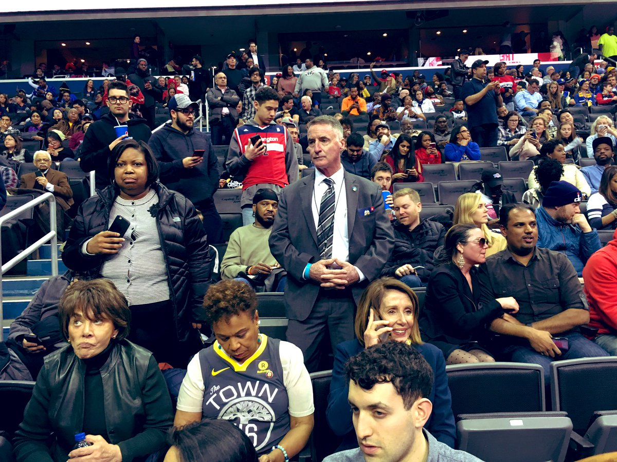 Spotted: Speaker Pelosi at @CapitalOneArena for tonight's #WarriorsWizards game. #ShutdownStories #shutdown @wusa9