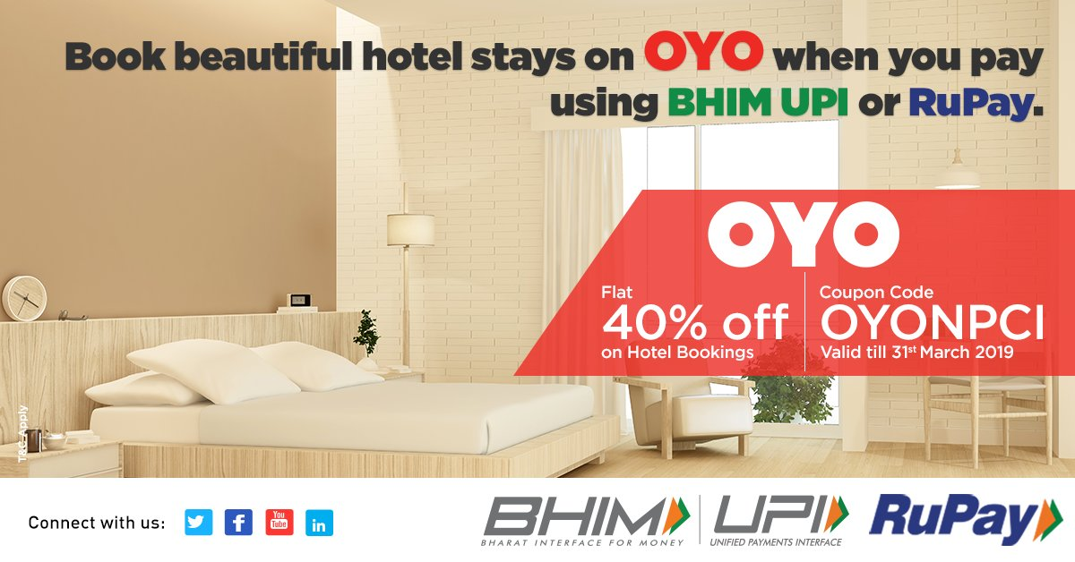 Don't compromise on your stays and book amazing rooms for your trips using this exclusive offer on @oyorooms using BHIM UPI. Know More: http://bit.ly/BHIMUPIOYOOffer #HighOnUPI #UPIOffers