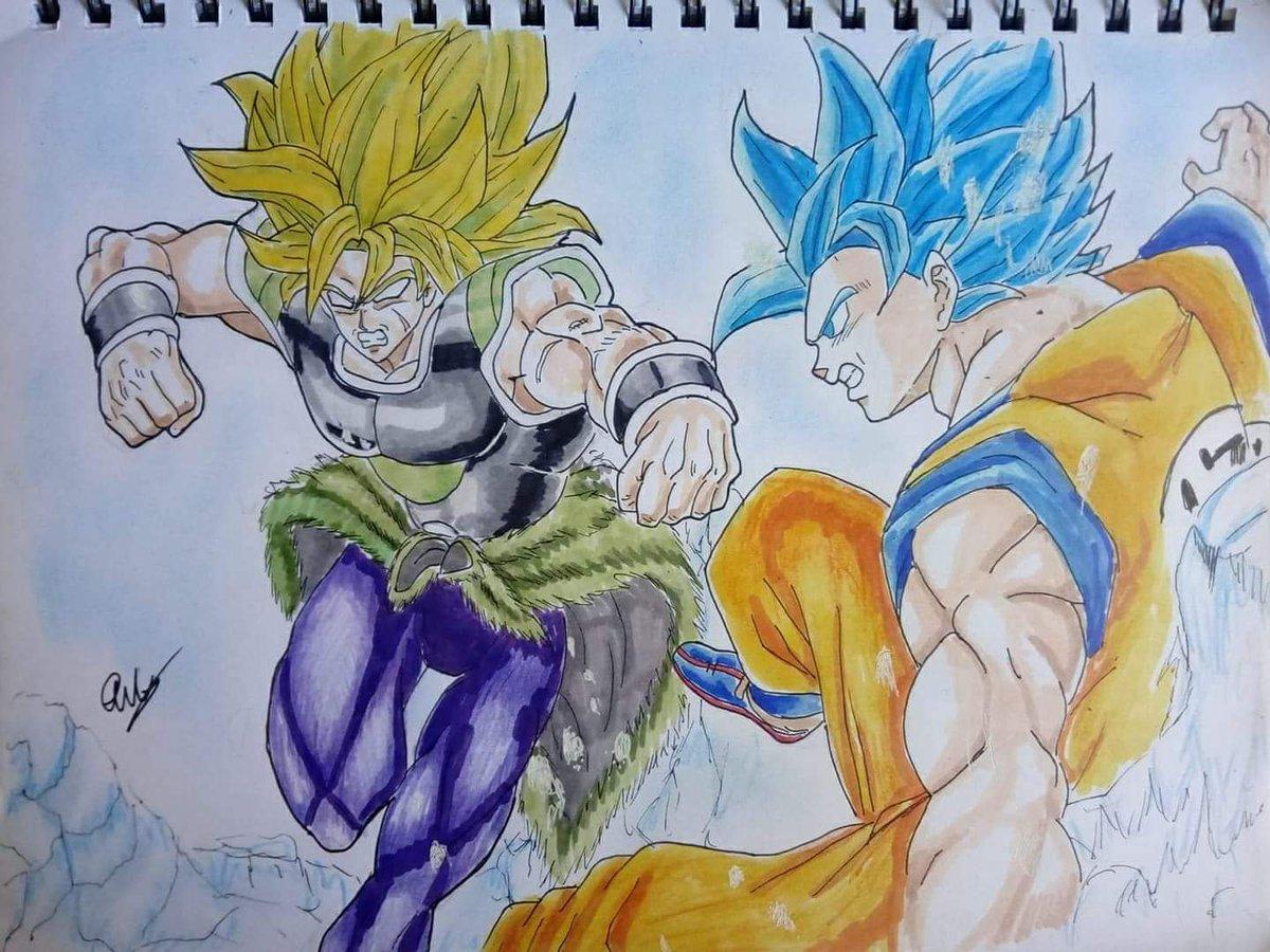 Aquí Les Comparto Este Dibujo De Goku Vs Broly Tecnica Tinta