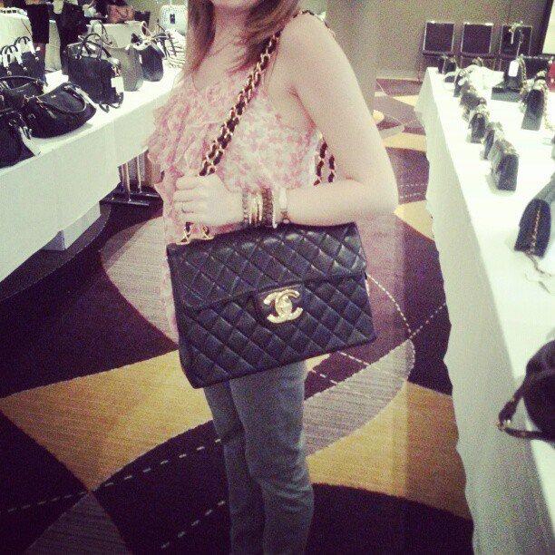 f693f303b49 That time 6 years ago when I got to try on a jumbo Chanel bag at