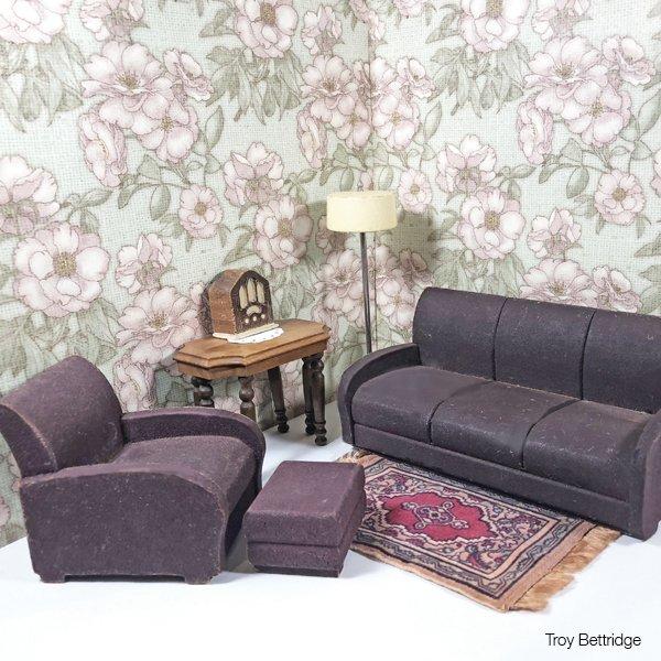 1940s STROMBECKER Dollhouse Furniture Ivory Painted Cedar Blanket Chest 1930s