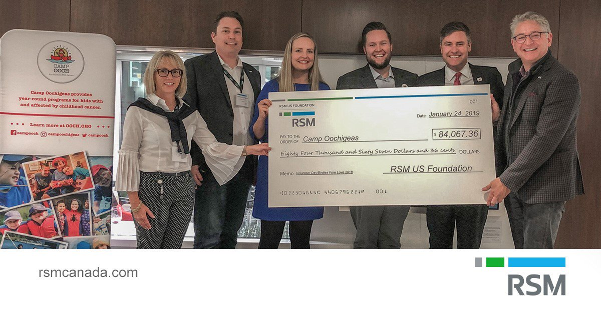 We are proud to have raised over $84,000 through our initial #BirdiesForeLove fundraising efforts, and to present our cheque to @CampOoch. The money will benefit kids affected by cancer. To learn more about RSM's stewardship program and about Camp Ooch: https://rsm.ca/2sJJhWD